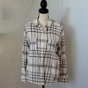 Button-down plaid blouse